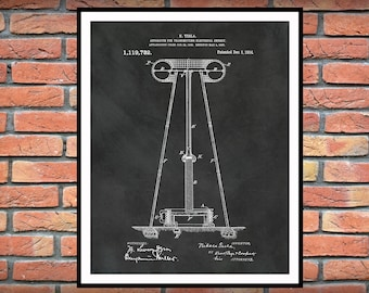 1914 Tesla Electrical Energy Transmitter Patent Print - Nikola Tesla Science Poster - Engineer Decor - Technology Art - Tesla Invention