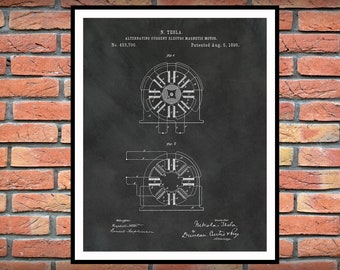 1890 Tesla Alternating Current Electromagnetic Motor Patent Print - Nikola Tesla Science - Engineer Gift - Technology Art - Tesla Invention