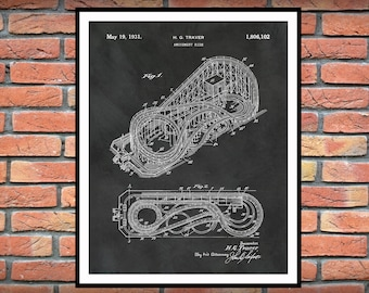 1931 Roller Coaster Patent Print - Cyclone Roller Coaster - Coney Island Amusement Park - Carnival Decor - Thrill Ride - Theme Park Decor