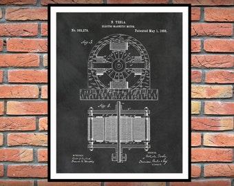1888 Tesla Electro Magnetic Motor Patent Print - Science Lab - Nikola Tesla Invention - Nikola Tesla Patent Print - Engineering Gift