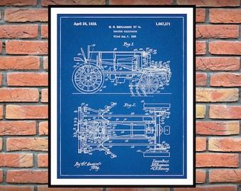 1925 International Harvester Tractor Cultivator Patent Print - IHC Tractor Poster Print - Farmhouse Decor - Farmall Tractor Patent Print