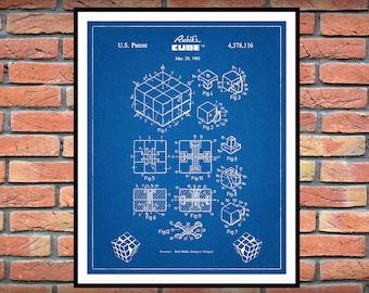 1983 Rubik's Cube Patent Print Vers #1 - Rubiks Cube Poster - Spatial Logical Toy - Brain Teaser Toy - Game Room Decor- Big Bang Theory Gift