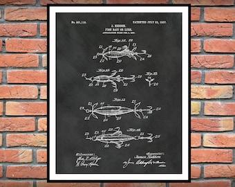 1907 Fish Lure Patent Print - Fish Bait Patent Print - Poster -  Man Cave - Fishing Camp Decor - Marina Art - Fishing Tackle