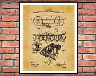 1914 Traction Engine Patent Print - Agriculture Poster - Tractor - Farming - Farm Equipment Patent - Farmhouse Decor -