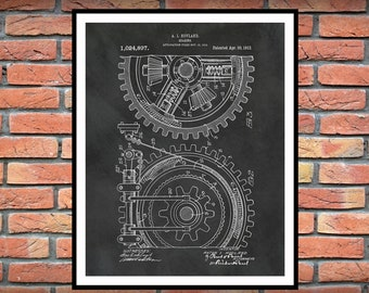 1912 Gear Patent Print Vers #2 - Industrial Decor - Mechanic Decor - Engineering Gift - Industrial and Mechanical Art - Gears Art, Motor Art