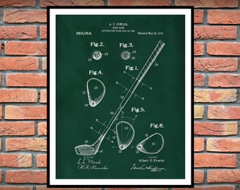 1910 Golf Club Patent Print - Poster- Wall Art - Golf Pro Shop Decor - PGA - LPGA Decor - Golf Lover - Tiger Woods Fan - Father's Day Gift