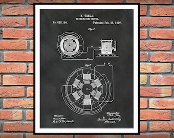1896 Tesla Alternating Motor Patent Print - Science Lab - Electrical Engineer Wall Art - Electricity Patent - Nikola Tesla Motor Patent