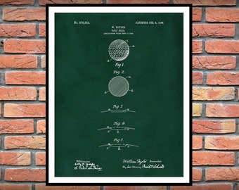 1908 Golf Ball Patent Print - Taylor Made Golf Ball Patent - Golf Pro Shop Decor - LPGA - PGA Decor - 1st Dimpled Golf Ball Design