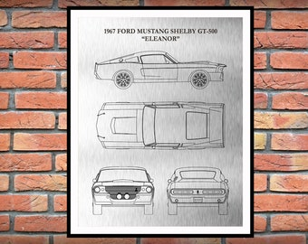"1967 Ford Mustang Shelby GT-500 ""Eleanor"" - Sports Car Poster - 60's Muscle Car Enthusiast - Mechanic Gift - Man Cave Decor"