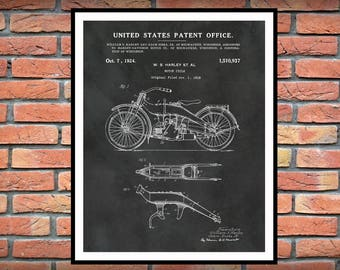 1919 Harley Patent Print Vers #2 Vertical - Harley Poster - Wall Art - Harley Davidson Motorcycle - Hells Angels - Man Cave Decor