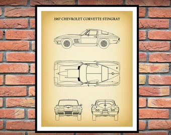 1967 Corvette Stingray Art Print - Chevy Corvette - Sports Car Poster - Muscle Car - Man Cave Decor - Car Art - Corvette Collector