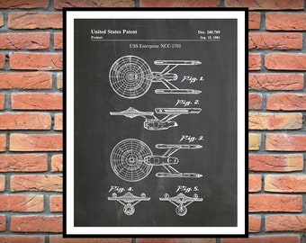 1981 Starship Enterprise Patent Print - USS Enterprise NCC-1701 - Constitution Class Starship Star Trek Decor - Star Trek Gift