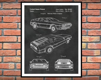 1986 Delorean Patent Print - Back to the Future Movie Poster - Stainless Steel Car - DeLorean DMC-12 Sports Car Patent