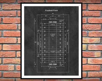 Football Field Blueprint Vers #1 - Game Room Decor - Super Bowl Gift - Football Decor - NFL Decor - Football Coach Gift - Football Fan Gift
