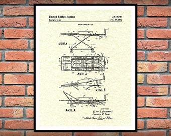 1972 Ambulance Cot Patent Print - Ambulance Stretcher - EMT Patent - Medical Poster - EMS Wall Art - Paramedic Gift Idea -Doctors Office -