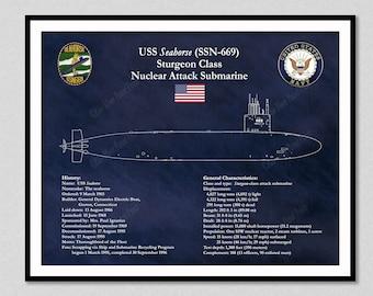 USS Seahorse SSN-669, Sturgeon Class Submarine Blueprint, Sturgeon Class Sub Poster,USS Seahorse Nuclear Submarine Drawing,Seawolf Art Print