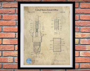 1975 Spar Plug Patent Print, Spark Plug blueprint, Spark Plug Drawing, Auto Mechanic Gift, Car Parts, Garage Art, Automotive Decor,