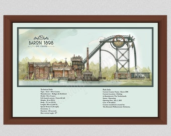 Baron 1898 Roller Coaster Drawing, Legend of the Witte Wieven, Netherlands Roller Coaster Poster, 1898 Baron Roller Coaster Art Print