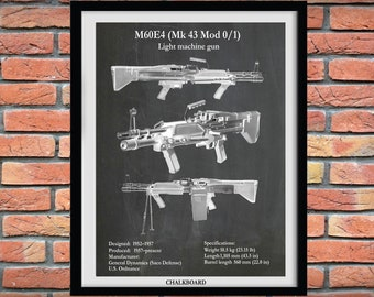 M60E4 Machine Gun Blueprint, Rifle Print, NRA Decor, MK43 Machine Gun Art Print, M60 Rifle Patent, Military Multi-use Machine Gun