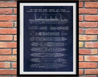R.M.S. Titanic Poster - Titanic Ship - Titanic Poster - Titanic Blueprint - Titanic Decor - Titanic Cutaway Drawing - Titanic Deck Plans