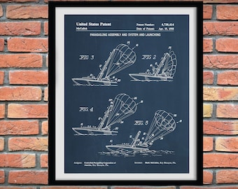 1988 Parasailing Patent Print, Parasailing Poster, Parasailing Assembly Blueprint, Nautical Decor