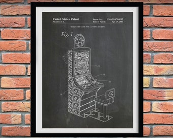 2003 Pac Man Slot Machine Patent Print - PacMan Console Game Poster - Pac Man Slot Machine Blueprint - Game Room Decor - Gambling Console