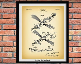 1935 Fish Lure Patent Print - Fishing Bait Patent Print - Fishing Camp Decor - Nautical Decor - Fishing Tackle Poster - Fathers Day Gift