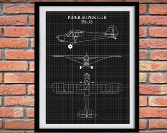 Piper Super Cub PA-18 Drawing - Piper Cub Poster, Piper Cub Blueprint, Aviation Decor - Pilot Art - Aviation School Art - Airplane Art Print
