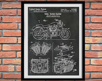 2006 Harley Davidson Sportster Patent Print, Harley Motorcycle Patent Print, Harley Davidson Poster, Hells Angels, Harley Hog, Harley Decor