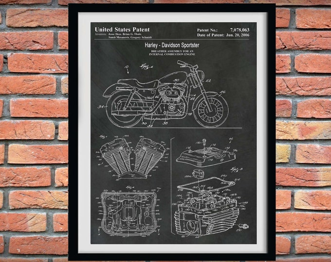 Featured listing image: 2006 Harley Davidson Sportster Patent Print, Harley Motorcycle Patent Print, Harley Davidson Poster, Hells Angels, Harley Hog, Harley Decor
