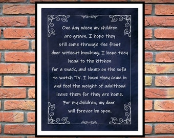 One Day When My Children Are Grown -  Inspirational Home Decor -  From The Heart Inspiration - Childs Room Decor - Christmas Gift Idea