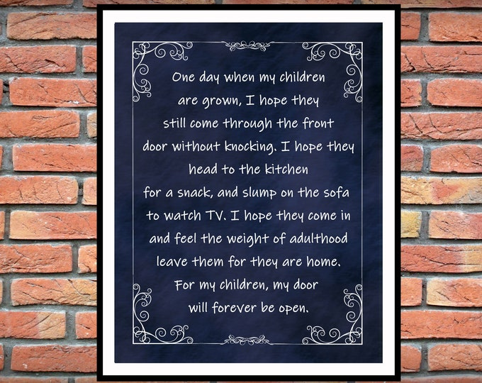 Featured listing image: One Day When My Children Are Grown -  Inspirational Home Decor -  From The Heart Inspiration - Childs Room Decor - Christmas Gift Idea