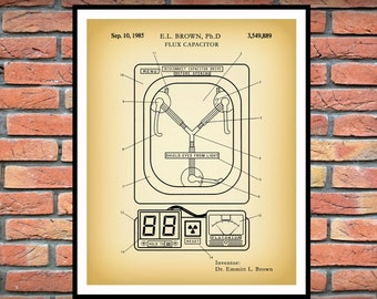 1985 Flux Capacitor Patent Print , Time Travel Invention, Doc Brown, Marty McFly, Back to the Future Memorabilia, Flux Capacitor Blueprint
