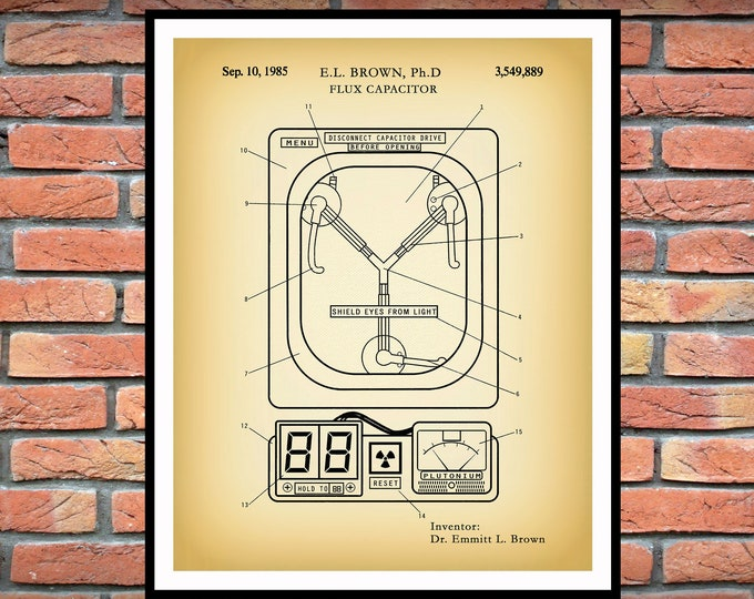 Featured listing image: 1985 Flux Capacitor Patent Print , Time Travel Invention, Doc Brown, Marty McFly, Back to the Future Memorabilia, Flux Capacitor Blueprint