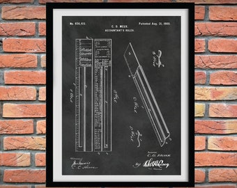Accountant's Ruler Patent Print - 1900 Bookkeeper Ruler Poster - Accountant Gift - Bookkeeping Instrument - CPA Gift - Accounting Decor