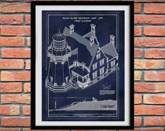 1874 Block Island Lighthouse Drawing, Block Island Lighthouse Front,Block Island Lighthouse Blueprint,Nautical Decor,Rhode Island Lighthouse