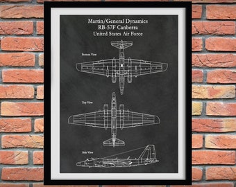 General Dynamics RB-57F Canberra Aircraft, United States Air Force Reconnaissance Aircraft Poster, Martin RB-57F Blueprint,