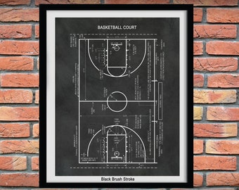 Basketball Court Art Print Vers #1, Game Room Decor, Football Decor, NBA Decor, Basketball Coach Gift, Basketball Fan Gift, Gift for Dad