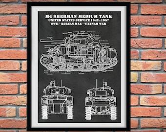 M4 Sherman Tank Poster - World War II Sherman Medium Tank M4 Poster - Sherman M4A1 Tank Print - M4A4 Military Tank Print - Military Decor