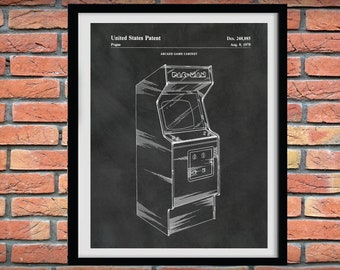 1978 Arcade Cabinet Patent Print - Arcade Console Game Poster - Pac Man Arcade Game Blueprint - Game Room Decor - Arcade Gaming Console