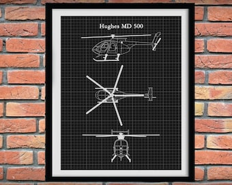 Hughes MD500 Helicopter Print - Hughes Helicopter Blueprint -MD500 Helicopter Poster - Chopper Pilot Gift - Hughes Helocopter Decor