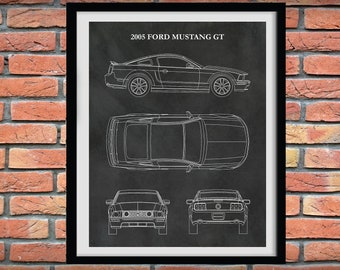 2005 Ford Mustang GT Poster, Fifth Generation Mustang S197, Mustang Sports Car Poster - Mustang Lover Gift Idea - 2005 Ford Mustang GT Print
