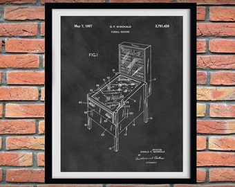 1957 Pinball Machine Patent Print - Pinball Game Arcade Poster - Pinball Machine Blueprint - Game Room Decor - Arcade Gaming Console