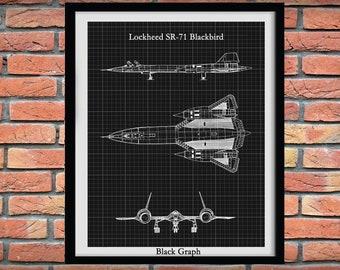 Lockheed Martin SR-71 Blackbird Drawing, SR-71 aircraft blueprint, Lockheed F-71 Blackbird Schematic, Military Fighter Jet, Pilot Gift Idea
