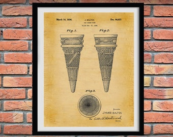 1936 Ice Cream Cone Patent Print, Ice Cream Shop Decor, Ice Cream Cone Blueprint, Ice Cream Lover Gift Idea, Ice Cream Invention
