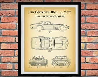 1968 Corvette C3 Coupe Patent Print, 1968 Corvette Poster, 1968 Corvette C3 Coupe Drawing, 1960's Corvette Collector Gift