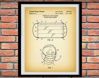 1989 Medical Face Mask Patent Print, Medical Face Mask Poster, Hospital Decor, Doctor Gift Idea, Medical Decor, COVID-19 Protection Mask