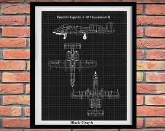 Fairchild Republic A-10 Thunderbolt II Drawing, A-10 Warthog Blueprint, A-10 Fighter Jet, Aviation Decor, Pilot Gift Idea,