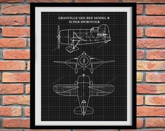 1932 Granville Gee Bee Super Sportster Airplane Poster, Gee Bee R1/R2 Blueprint, Gee Bee Racer Airplane Drawing, Aviation Art,Aviation Decor