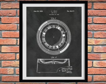 1933 Roulette Wheel Patent Print - Roulette Wheel Blueprint - Casino Decor - Gambling Decor - Roulette Wheel Poster - Game Room Decor